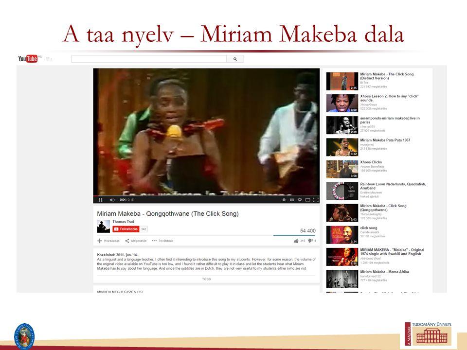 A taa nyelv – Miriam Makeba dala
