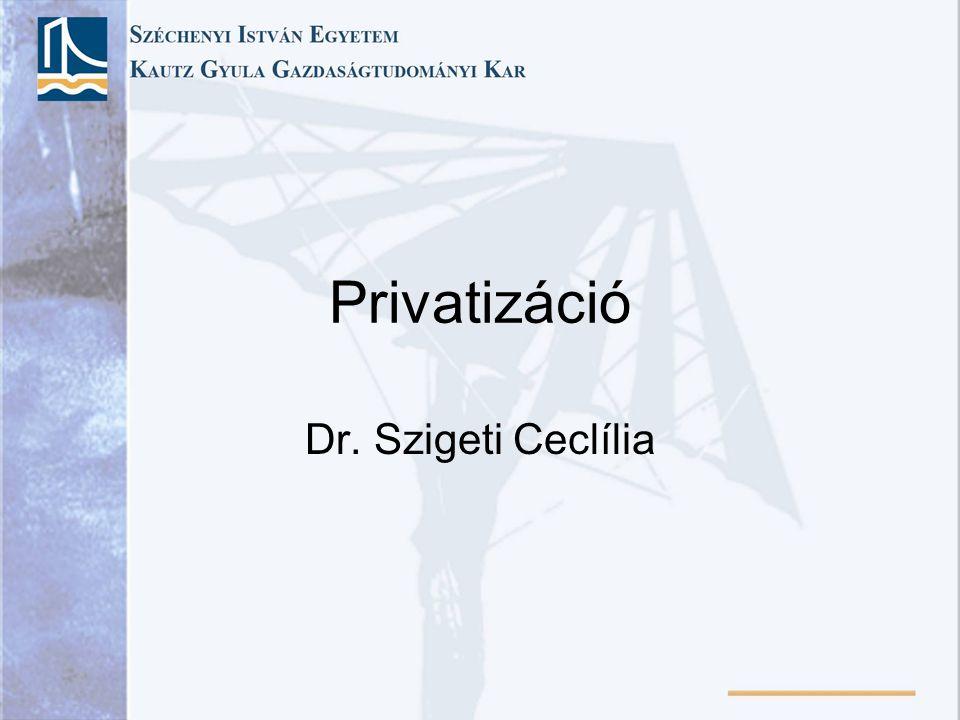 Privatizáció Dr. Szigeti Ceclília