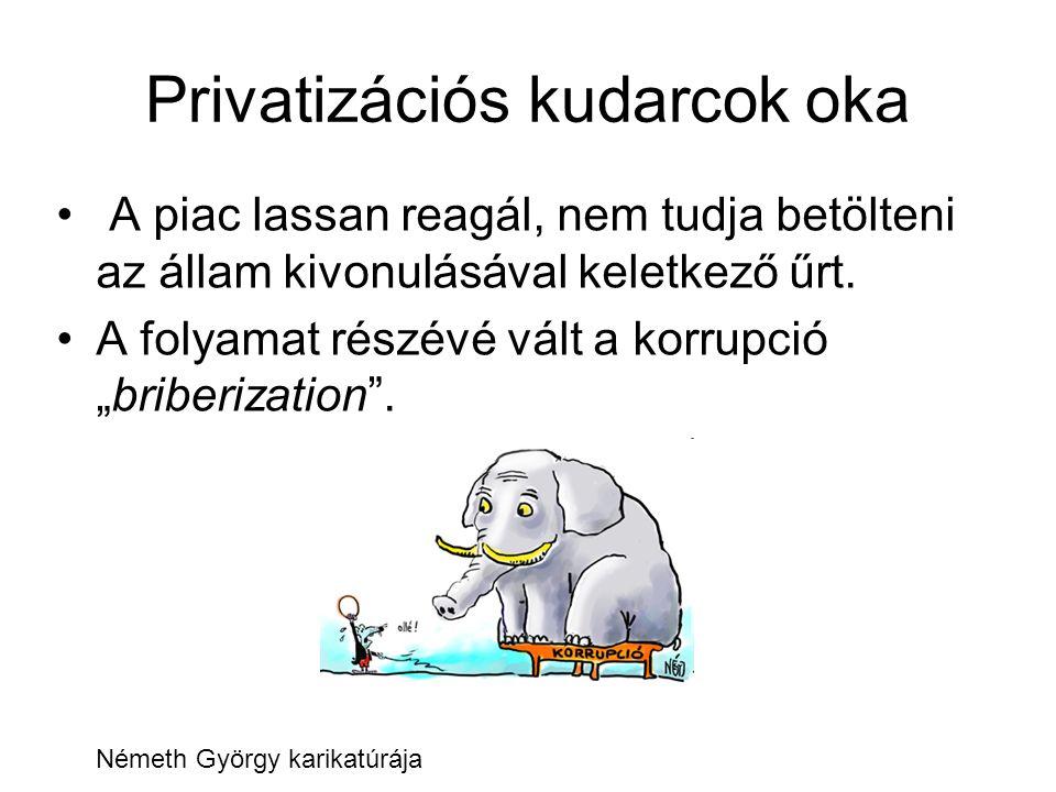 """Privatizációs kudarcok oka A piac lassan reagál, nem tudja betölteni az állam kivonulásával keletkező űrt. A folyamat részévé vált a korrupció """"briber"""