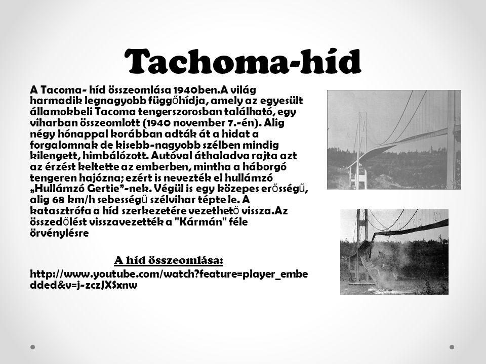 Tachoma-híd A Tacoma- híd összeomlása 1940ben.A világ harmadik legnagyobb függ ő hídja, amely az egyesült államokbeli Tacoma tengerszorosban található, egy viharban összeomlott (1940 november 7.-én).