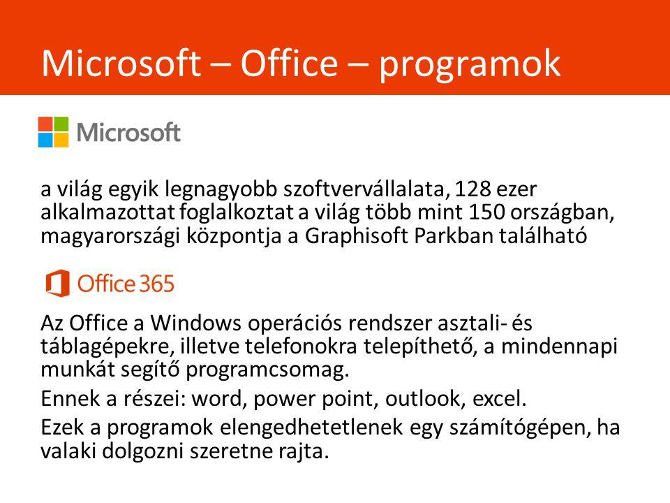 Microsoft – Office – programok - a világ egyik legnagyobb szoftvervállalata, 128 ezer alkalmazottat foglalkoztat a világ több mint 150 országban, magyarországi központja a Graphisoft Parkban található Az Office a Windows operációs rendszer asztali- és táblagépekre, illetve telefonokra telepíthető, a mindennapi munkát segítő programcsomag.