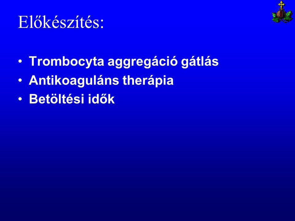 Előkészítés: Trombocyta aggregáció gátlás Antikoaguláns therápia Betöltési idők