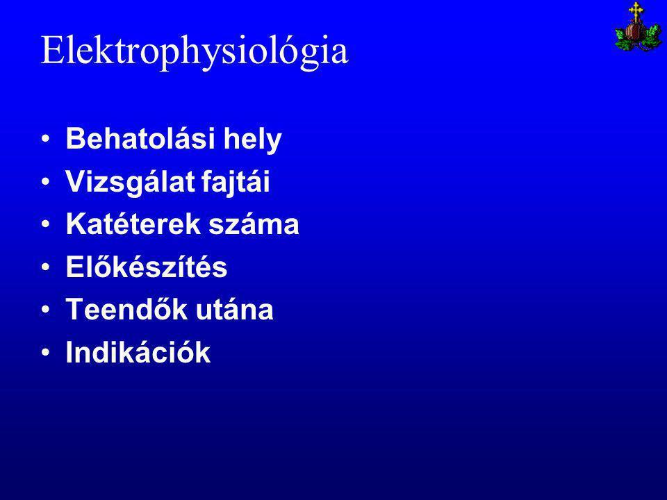 Elektrophysiológia Behatolási hely Vizsgálat fajtái Katéterek száma Előkészítés Teendők utána Indikációk