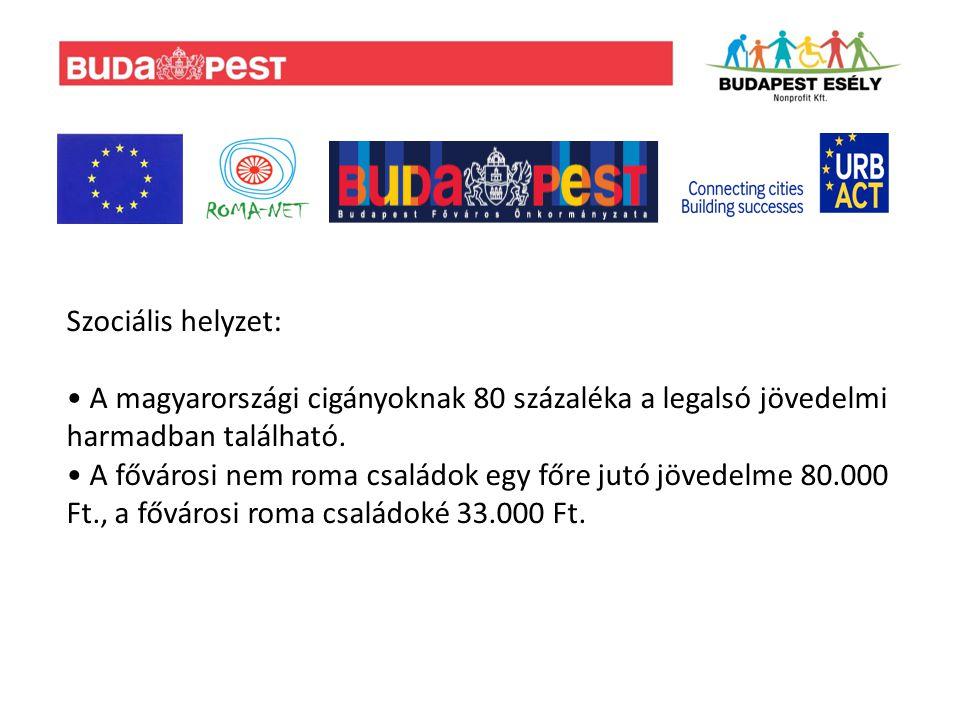 Foglalkoztatás: Budapesten a romák 64%-ának van munkája, 57%-uk pedig rendszeres munkát végez, és ez országos viszonylatban kiugróan jó mutatónak tekinthető.
