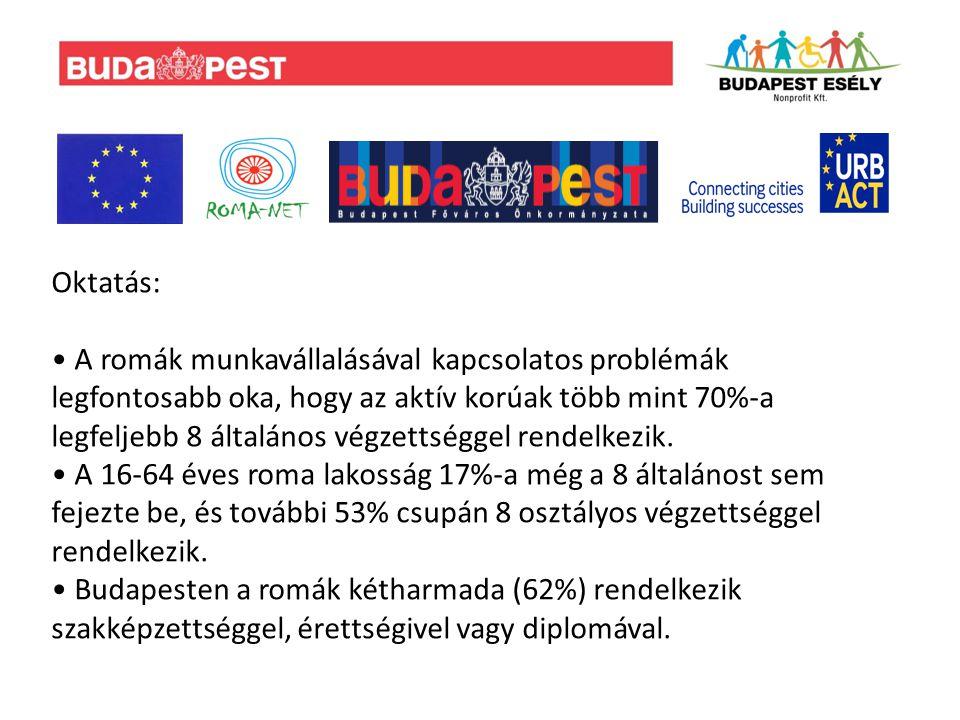 Egészségügy: A budapesti régióban a születéskor várható élettartam a nem romák estében 71-72 év, a romák esetében csak 66 év.