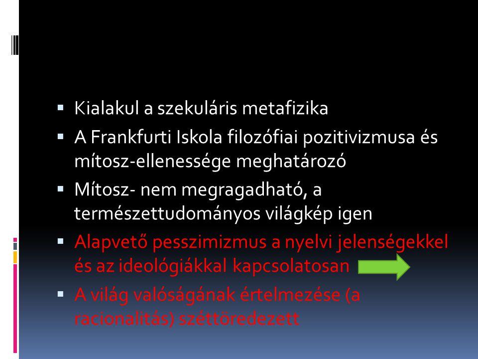  Kialakul a szekuláris metafizika  A Frankfurti Iskola filozófiai pozitivizmusa és mítosz-ellenessége meghatározó  Mítosz- nem megragadható, a term