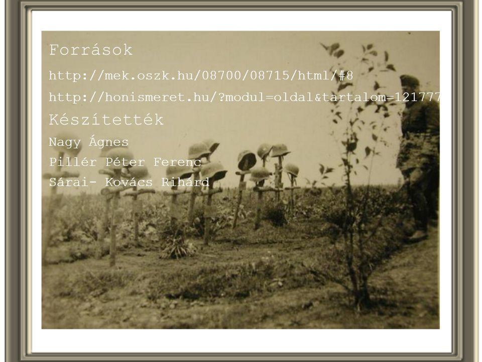 Források http://mek.oszk.hu/08700/08715/html/#8 http://honismeret.hu/?modul=oldal&tartalom=1217774 Készítették Nagy Ágnes Pillér Péter Ferenc Sárai- K