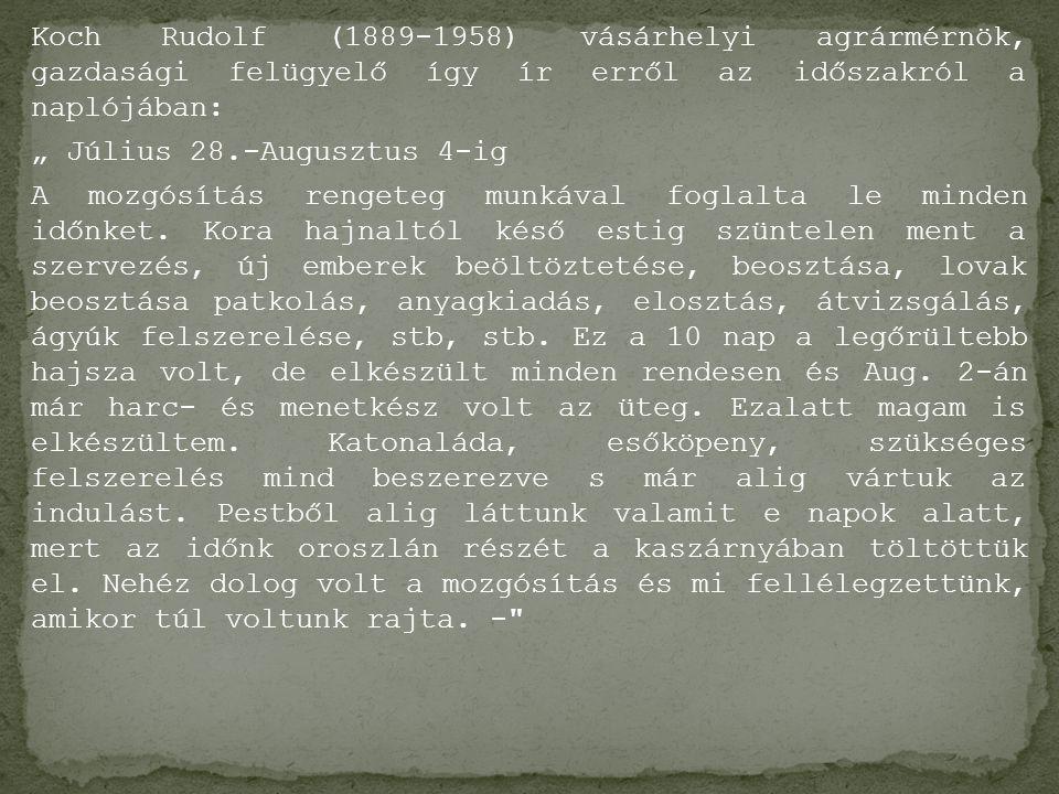 """Koch Rudolf (1889-1958) vásárhelyi agrármérnök, gazdasági felügyelő így ír erről az időszakról a naplójában: """" Július 28.-Augusztus 4-ig A mozgósítás rengeteg munkával foglalta le minden időnket."""