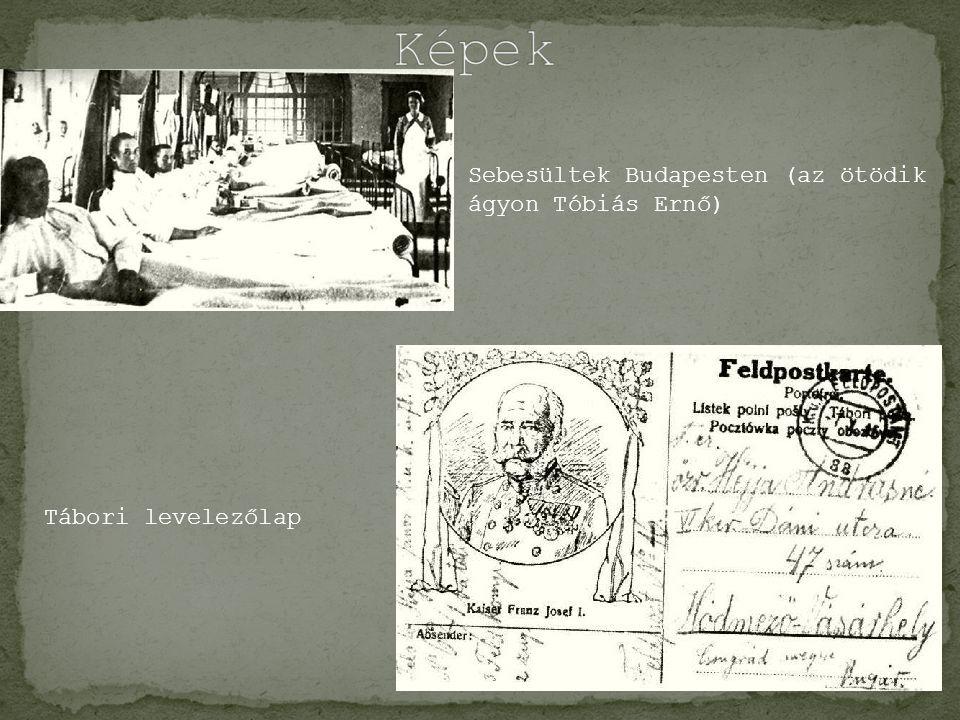 Sebesültek Budapesten (az ötödik ágyon Tóbiás Ernő) Tábori levelezőlap