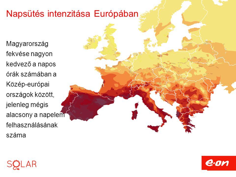 Napsütés intenzitása Európában Magyarország fekvése nagyon kedvező a napos órák számában a Közép-európai országok között, jelenleg mégis alacsony a napelem felhasználásának száma