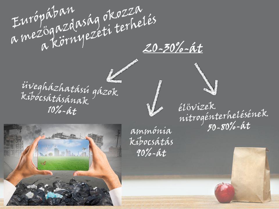 20-30%-át Európában a mez ő gazdaság okozza a környezeti terhelés ammónia kibocsátás 90%-át él ő vizek nitrogénterhelésének 50-80%-át üvegházhatású gá