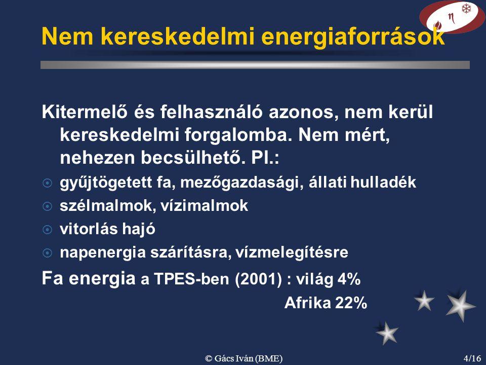 © Gács Iván (BME)4/16 Nem kereskedelmi energiaforrások Kitermelő és felhasználó azonos, nem kerül kereskedelmi forgalomba. Nem mért, nehezen becsülhet
