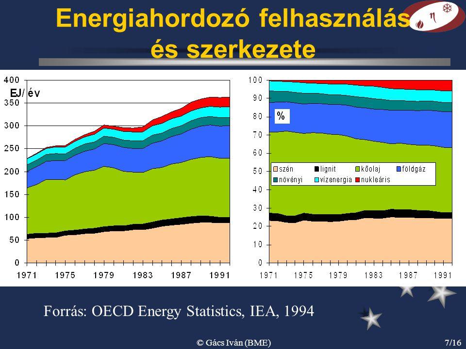 © Gács Iván (BME)7/16 Energiahordozó felhasználás és szerkezete Forrás: OECD Energy Statistics, IEA, 1994
