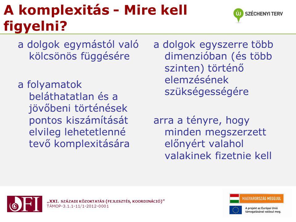 """""""XXI. SZÁZADI KÖZOKTATÁS ( FEJLESZTÉS, KOORDINÁCIÓ )"""" TÁMOP-3.1.1-11/1-2012-0001 A komplexitás - Mire kell figyelni? a dolgok egymástól való kölcsönös"""
