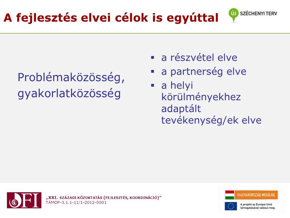 """""""XXI. SZÁZADI KÖZOKTATÁS ( FEJLESZTÉS, KOORDINÁCIÓ )"""" TÁMOP-3.1.1-11/1-2012-0001 A fejlesztés elvei célok is egyúttal Problémaközösség, gyakorlatközös"""