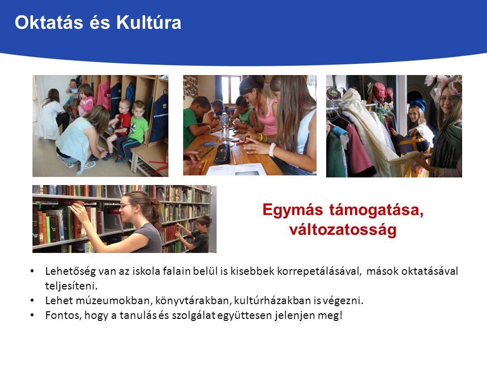 Oktatás és Kultúra Lehetőség van az iskola falain belül is kisebbek korrepetálásával, mások oktatásával teljesíteni.