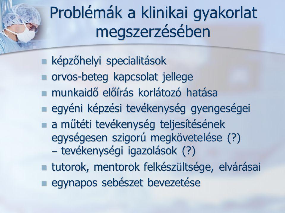 Problémák a klinikai gyakorlat megszerzésében képzőhelyi specialitások képzőhelyi specialitások orvos-beteg kapcsolat jellege orvos-beteg kapcsolat je