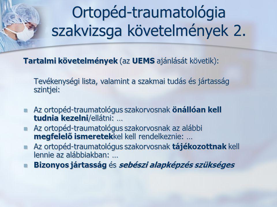 Ortopéd-traumatológia szakvizsga követelmények 2. Tartalmi követelmények (az UEMS ajánlását követik): Tevékenységi lista, valamint a szakmai tudás és