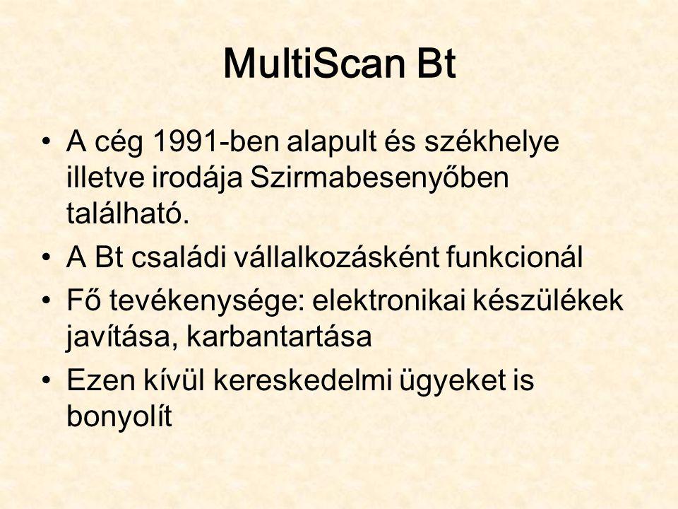 MultiScan Bt A cég 1991-ben alapult és székhelye illetve irodája Szirmabesenyőben található. A Bt családi vállalkozásként funkcionál Fő tevékenysége: