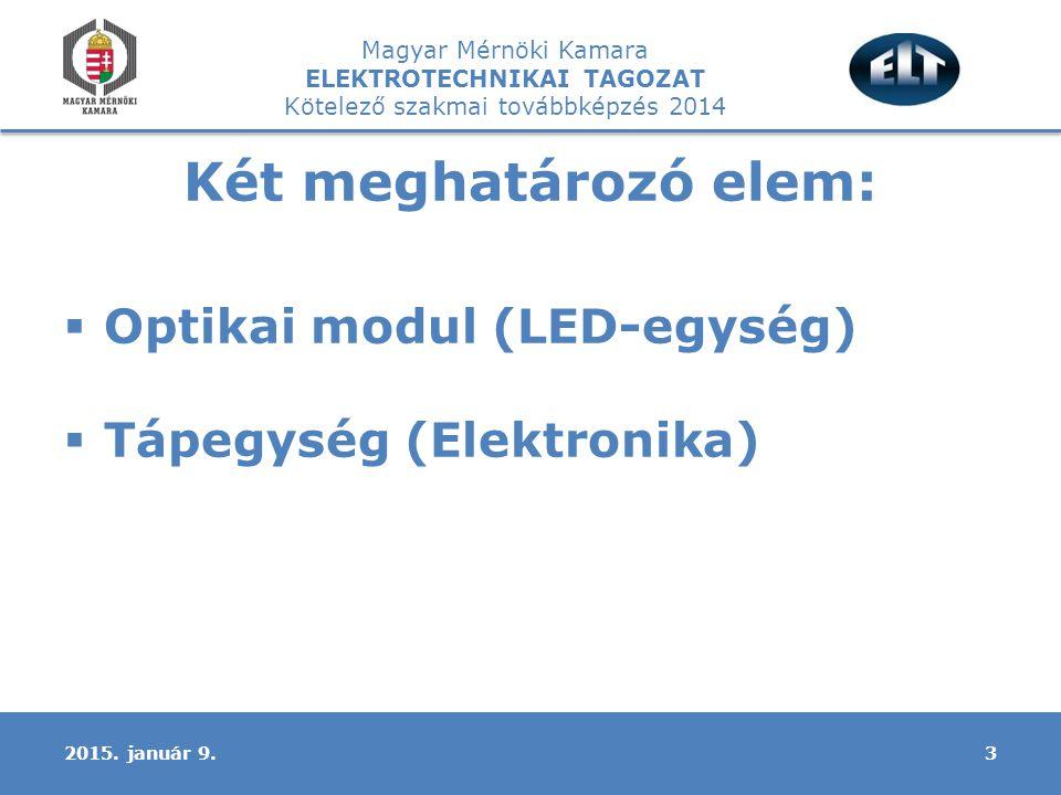Magyar Mérnöki Kamara ELEKTROTECHNIKAI TAGOZAT Kötelező szakmai továbbképzés 2014 Két meghatározó elem:  Optikai modul (LED-egység)  Tápegység (Elektronika) 32015.