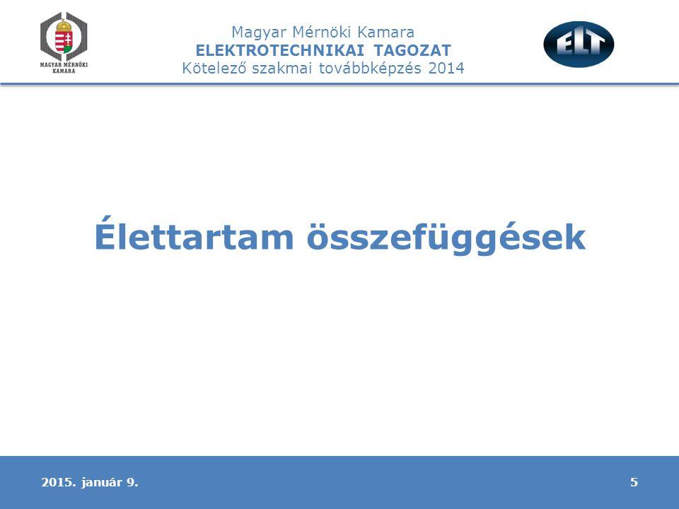 Magyar Mérnöki Kamara ELEKTROTECHNIKAI TAGOZAT Kötelező szakmai továbbképzés 2014 Élettartam összefüggések 52015.