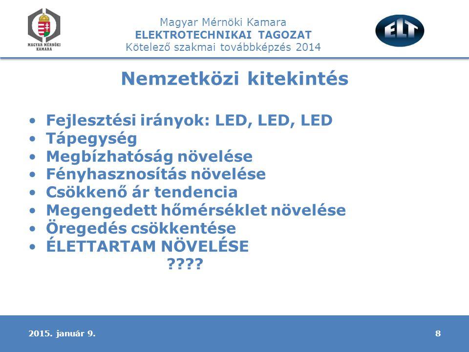 Magyar Mérnöki Kamara ELEKTROTECHNIKAI TAGOZAT Kötelező szakmai továbbképzés 2014 Nemzetközi kitekintés Fejlesztési irányok: LED, LED, LED Tápegység Megbízhatóság növelése Fényhasznosítás növelése Csökkenő ár tendencia Megengedett hőmérséklet növelése Öregedés csökkentése ÉLETTARTAM NÖVELÉSE .