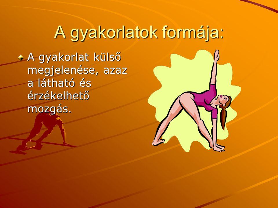 A gyakorlatok formája: A gyakorlat külső megjelenése, azaz a látható és érzékelhető mozgás.