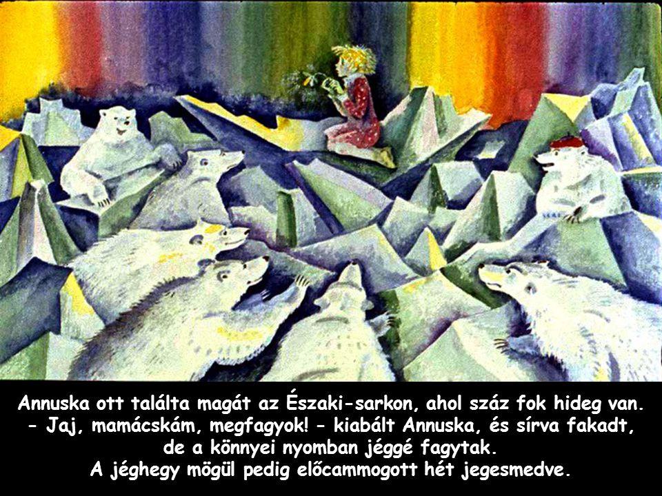 Szpahi Annuska ott találta magát az Északi-sarkon, ahol száz fok hideg van. - Jaj, mamácskám, megfagyok! - kiabált Annuska, és sírva fakadt, de a könn