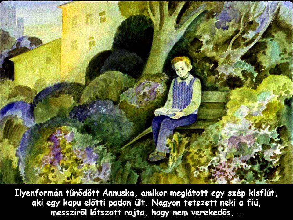 Szpahi Ilyenformán tűnődött Annuska, amikor meglátott egy szép kisfiút, aki egy kapu előtti padon ült. Nagyon tetszett neki a fiú, messziről látszott
