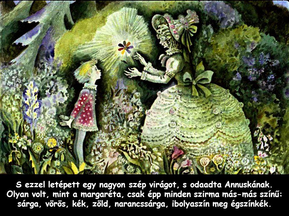 Szpahi S ezzel letépett egy nagyon szép virágot, s odaadta Annuskának. Olyan volt, mint a margaréta, csak épp minden szirma más-más színű: sárga, vörö
