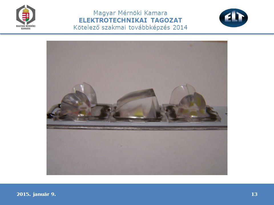 Magyar Mérnöki Kamara ELEKTROTECHNIKAI TAGOZAT Kötelező szakmai továbbképzés 2014 132015. január 9.
