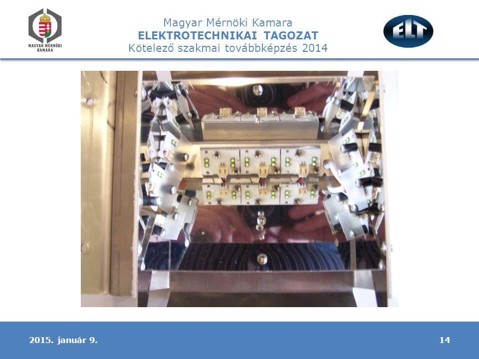 Magyar Mérnöki Kamara ELEKTROTECHNIKAI TAGOZAT Kötelező szakmai továbbképzés 2014 142015. január 9.