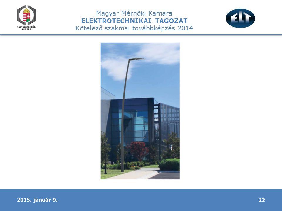 Magyar Mérnöki Kamara ELEKTROTECHNIKAI TAGOZAT Kötelező szakmai továbbképzés 2014 222015. január 9.