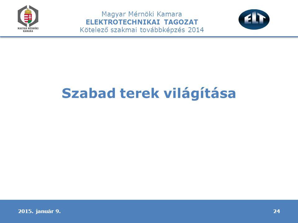 Magyar Mérnöki Kamara ELEKTROTECHNIKAI TAGOZAT Kötelező szakmai továbbképzés 2014 Szabad terek világítása 242015.