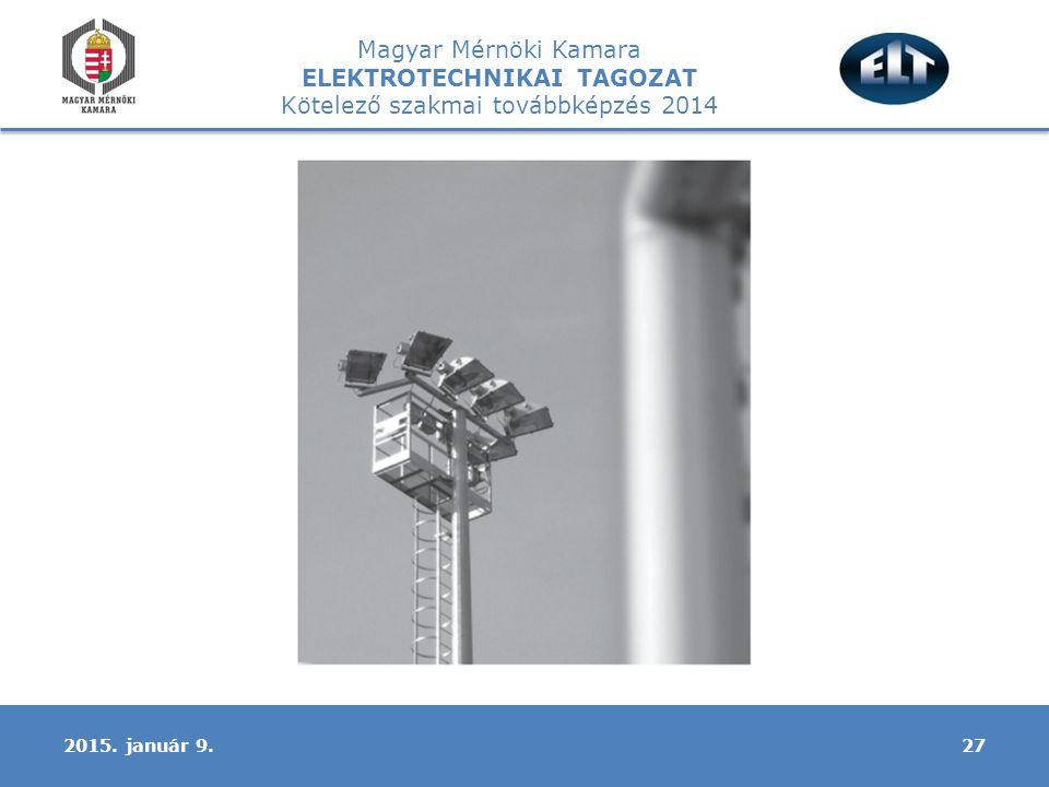 Magyar Mérnöki Kamara ELEKTROTECHNIKAI TAGOZAT Kötelező szakmai továbbképzés 2014 272015. január 9.