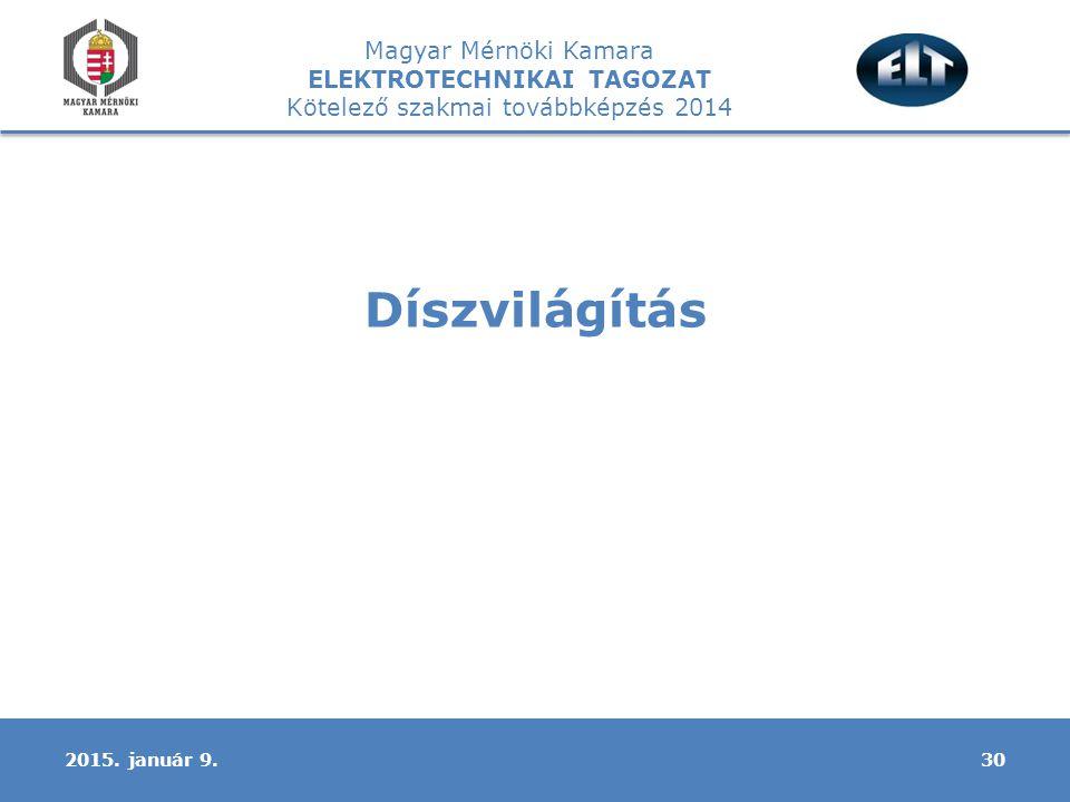 Magyar Mérnöki Kamara ELEKTROTECHNIKAI TAGOZAT Kötelező szakmai továbbképzés 2014 Díszvilágítás 302015.