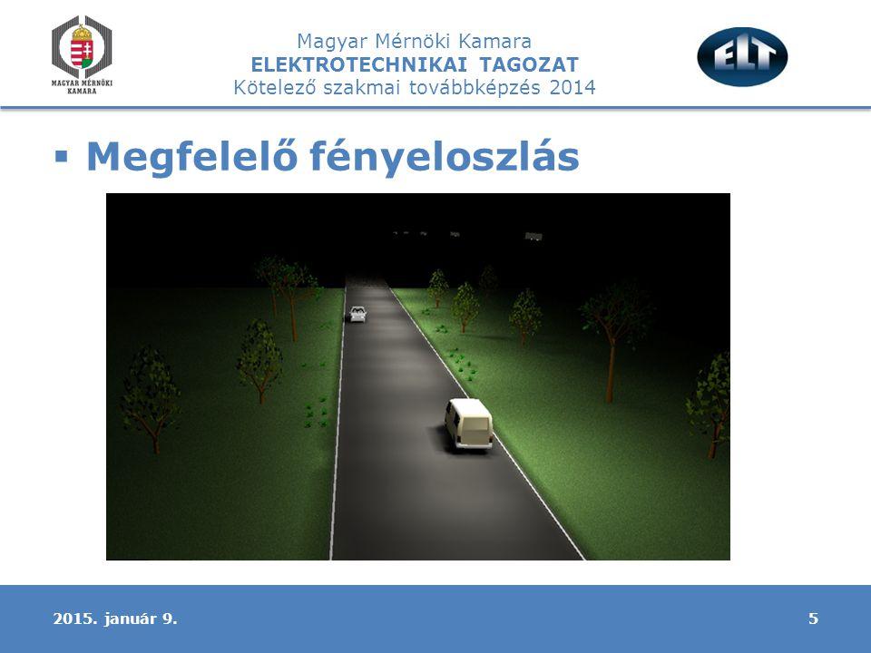 Magyar Mérnöki Kamara ELEKTROTECHNIKAI TAGOZAT Kötelező szakmai továbbképzés 2014  Megfelelő fényeloszlás 52015.