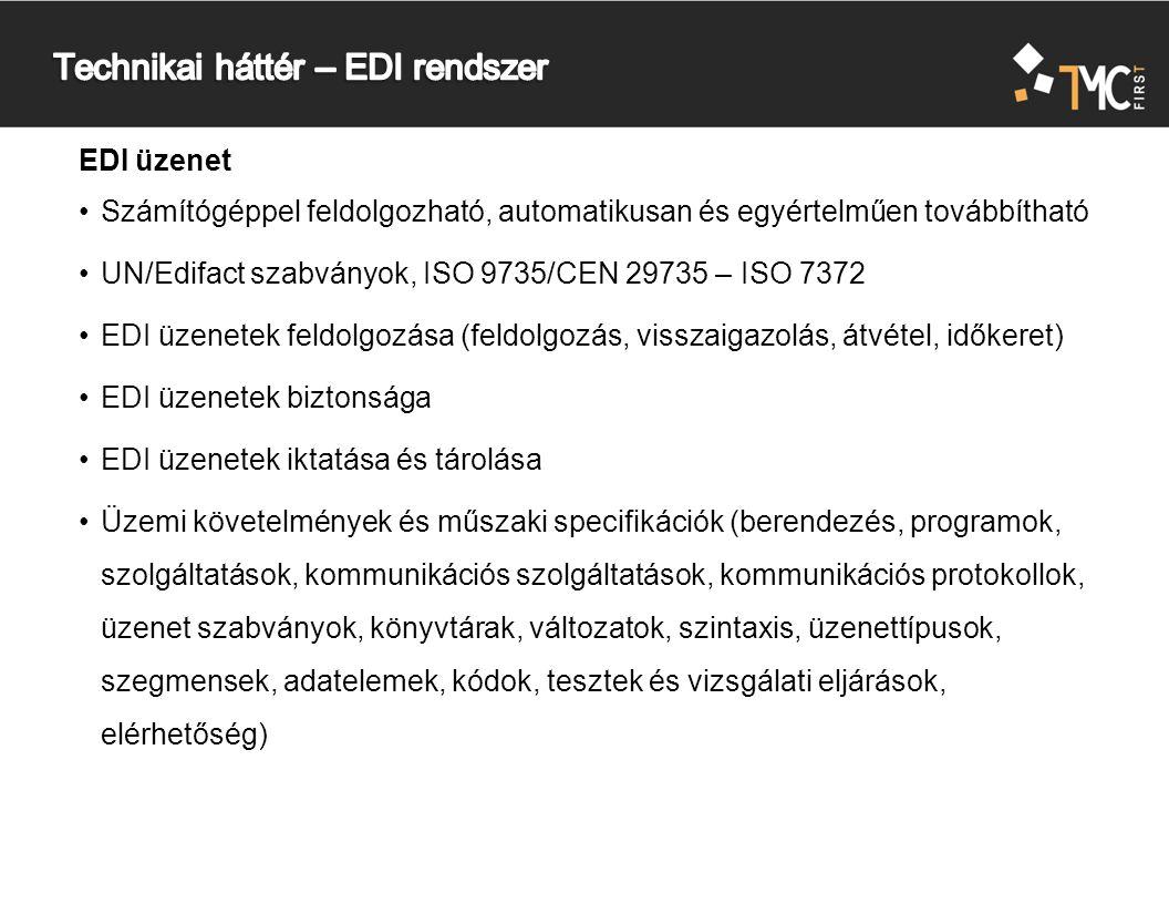 EDI üzenet Számítógéppel feldolgozható, automatikusan és egyértelműen továbbítható UN/Edifact szabványok, ISO 9735/CEN 29735 – ISO 7372 EDI üzenetek feldolgozása (feldolgozás, visszaigazolás, átvétel, időkeret) EDI üzenetek biztonsága EDI üzenetek iktatása és tárolása Üzemi követelmények és műszaki specifikációk (berendezés, programok, szolgáltatások, kommunikációs szolgáltatások, kommunikációs protokollok, üzenet szabványok, könyvtárak, változatok, szintaxis, üzenettípusok, szegmensek, adatelemek, kódok, tesztek és vizsgálati eljárások, elérhetőség)