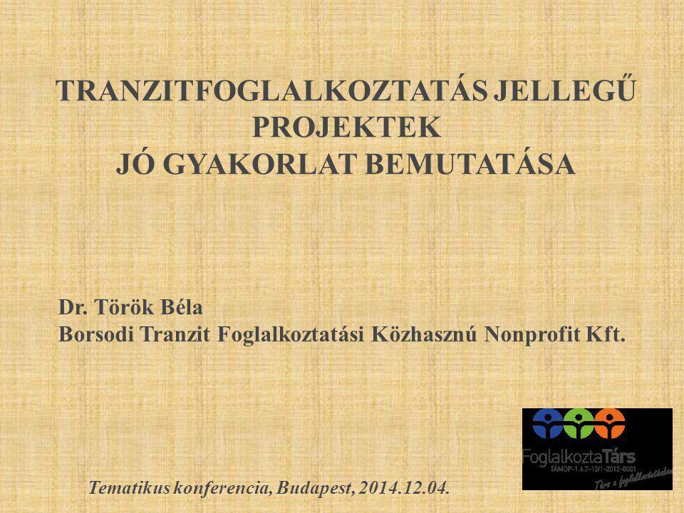 TRANZITFOGLALKOZTATÁS JELLEGŰ PROJEKTEK JÓ GYAKORLAT BEMUTATÁSA Dr. Török Béla Borsodi Tranzit Foglalkoztatási Közhasznú Nonprofit Kft. Tematikus konf