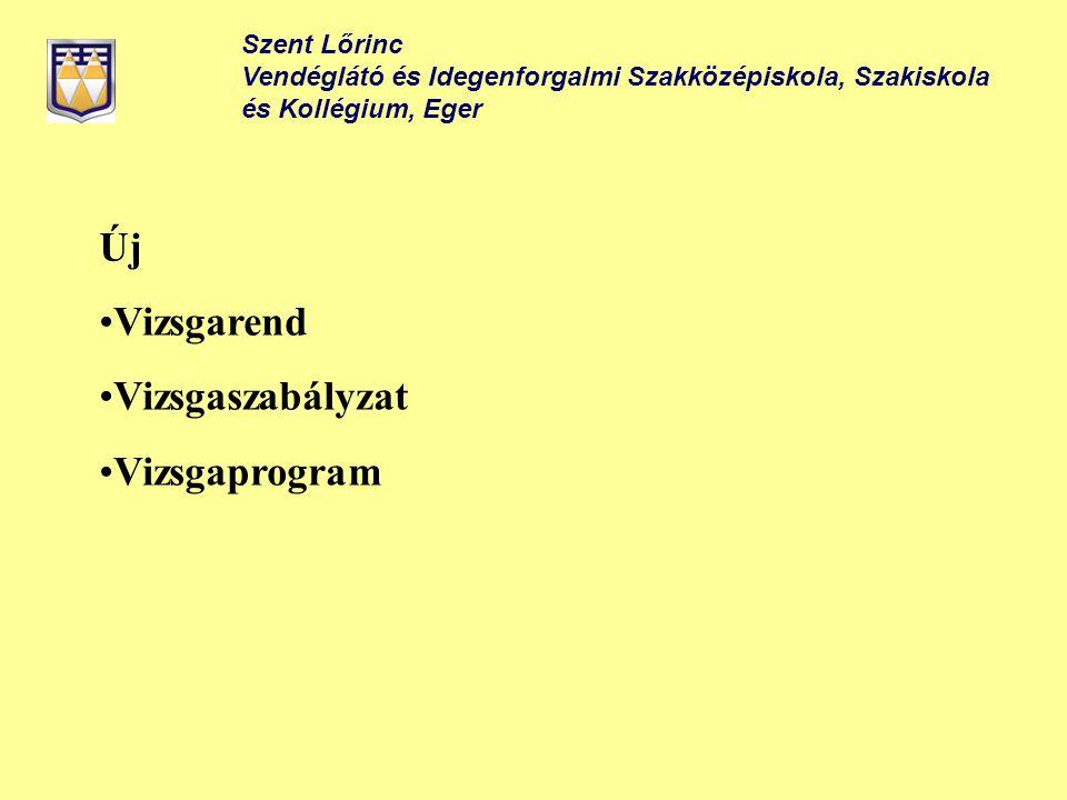 Szent Lőrinc Vendéglátó és Idegenforgalmi Szakközépiskola, Szakiskola és Kollégium, Eger Új Vizsgarend Vizsgaszabályzat Vizsgaprogram