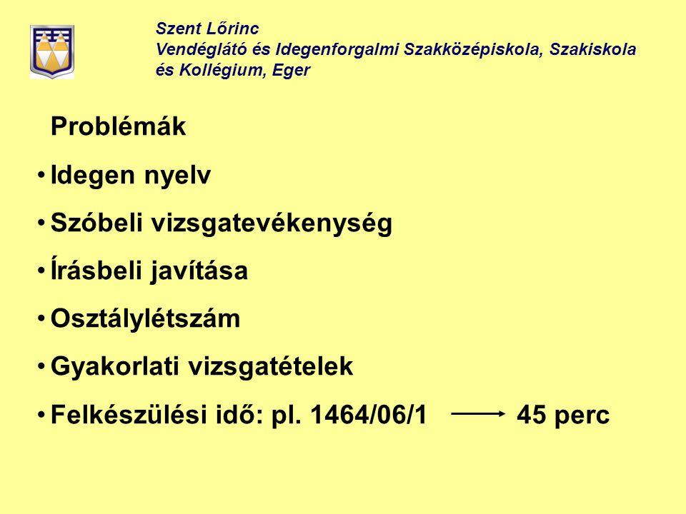 Szent Lőrinc Vendéglátó és Idegenforgalmi Szakközépiskola, Szakiskola és Kollégium, Eger Problémák Idegen nyelv Szóbeli vizsgatevékenység Írásbeli jav