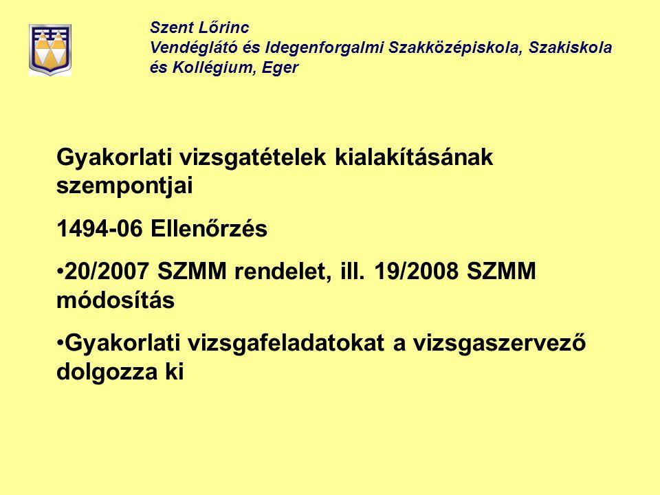 Szent Lőrinc Vendéglátó és Idegenforgalmi Szakközépiskola, Szakiskola és Kollégium, Eger Gyakorlati vizsgatételek kialakításának szempontjai 1494-06 E
