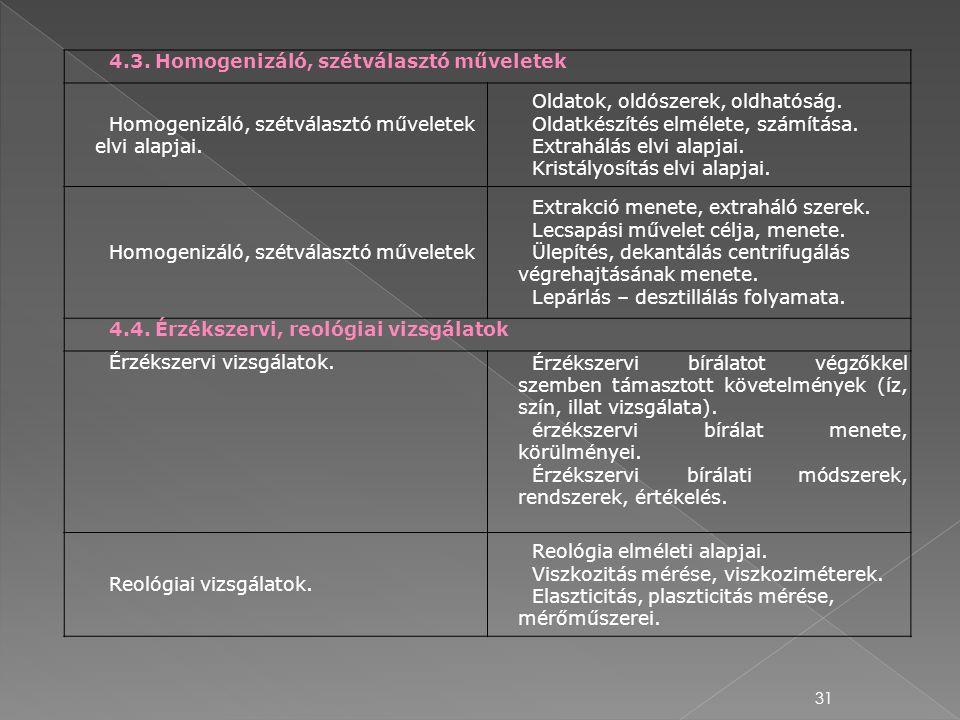 31 4.3. Homogenizáló, szétválasztó műveletek Homogenizáló, szétválasztó műveletek elvi alapjai. Oldatok, oldószerek, oldhatóság. Oldatkészítés elmélet