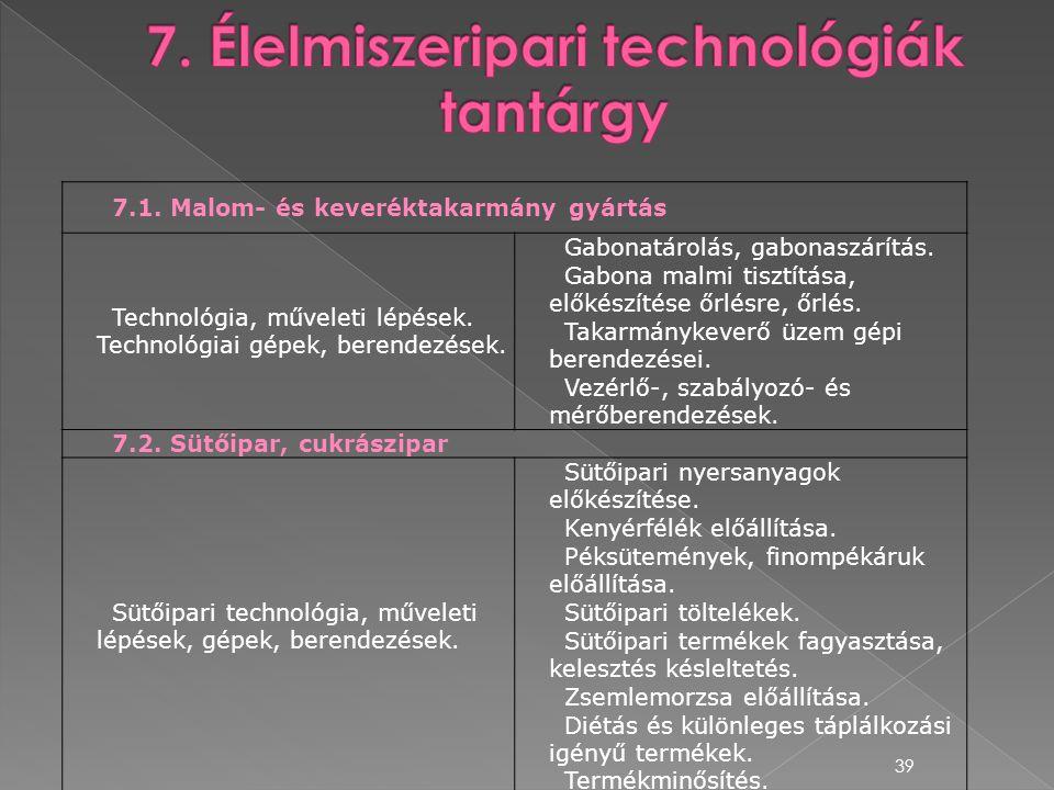 39 7.1. Malom- és keveréktakarmány gyártás Technológia, műveleti lépések. Technológiai gépek, berendezések. Gabonatárolás, gabonaszárítás. Gabona malm