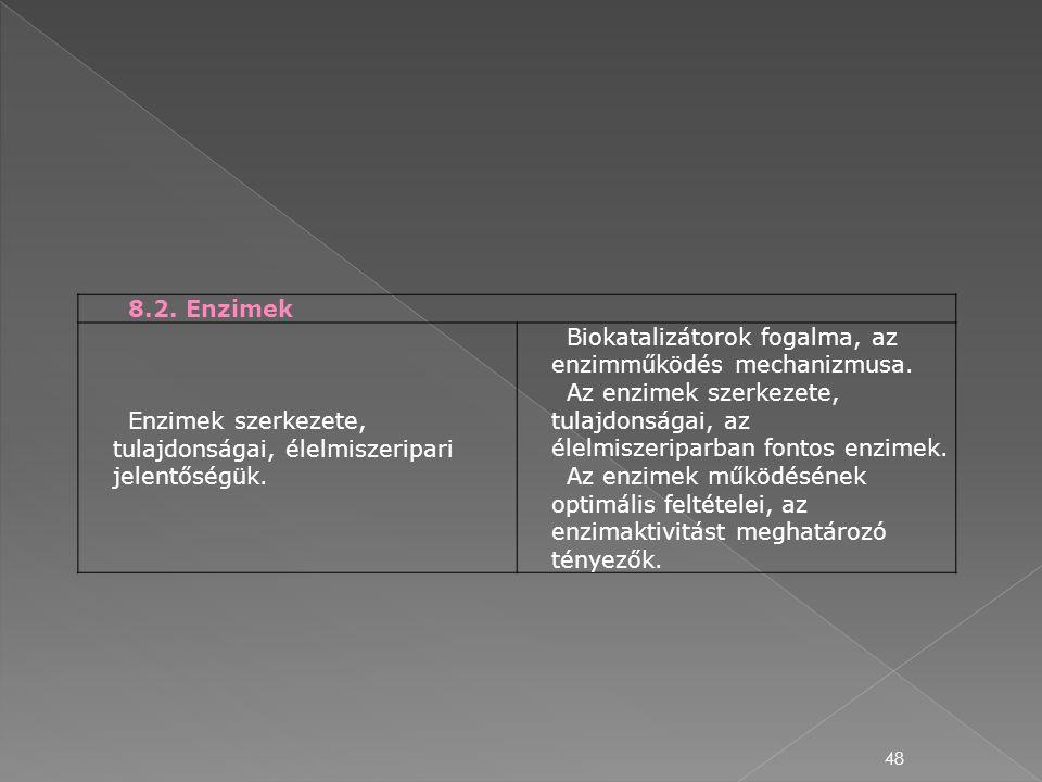48 8.2. Enzimek Enzimek szerkezete, tulajdonságai, élelmiszeripari jelentőségük. Biokatalizátorok fogalma, az enzimműködés mechanizmusa. Az enzimek sz