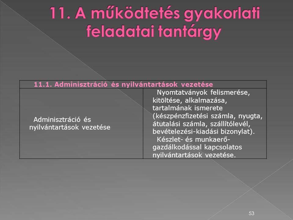 53 11.1. Adminisztráció és nyilvántartások vezetése Adminisztráció és nyilvántartások vezetése Nyomtatványok felismerése, kitöltése, alkalmazása, tart