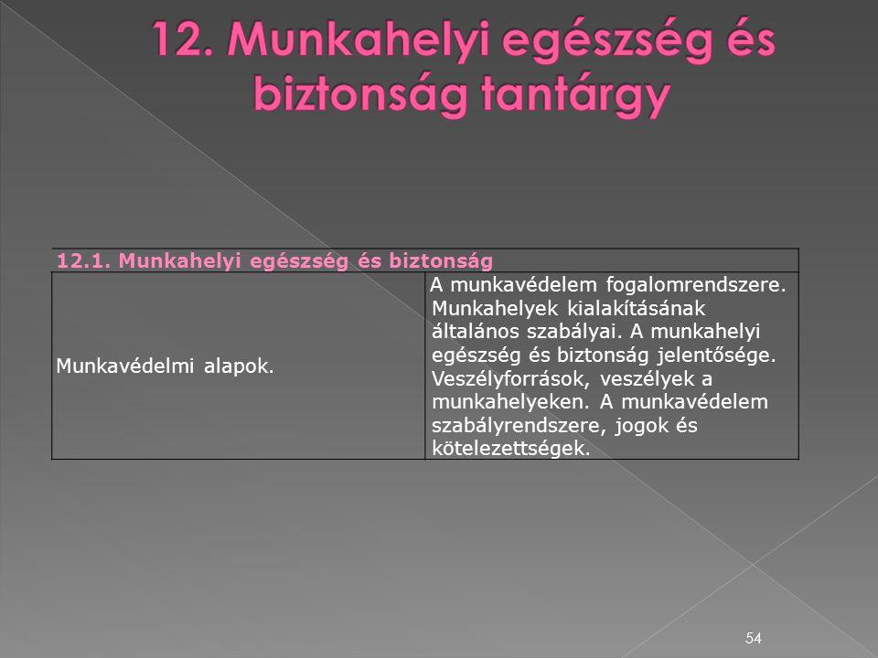 54 12.1. Munkahelyi egészség és biztonság Munkavédelmi alapok. A munkavédelem fogalomrendszere. Munkahelyek kialakításának általános szabályai. A munk