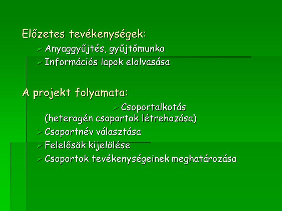 Előzetes tevékenységek:  Anyaggyűjtés, gyűjtőmunka  Információs lapok elolvasása A projekt folyamata:  Csoportalkotás (heterogén csoportok létrehoz