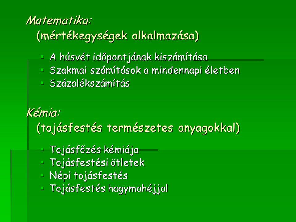Fizika: (digitális eszközök és konyhai felszerelések használata)  Spagetti híd készítése Rajz: (választható technika)  Húsvéti dekoráció  Húsvéti képeslapok  Üvegfestés  Origami Földrajz: (térképészeti ismeretek)  A húsvét ünneplése Európában