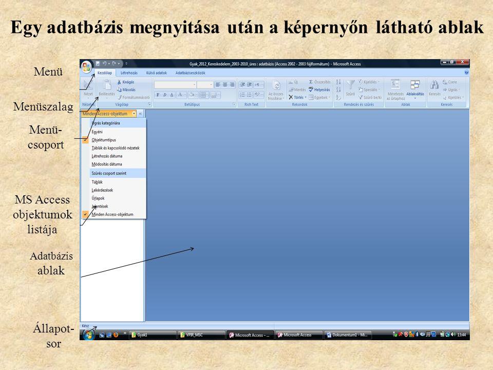 A Microsoft Access indítása A program a többi Office alkalmazáshoz hasonlóan többféle módon indítható, többnyire az asztalra kitett ikonjával vagy a S